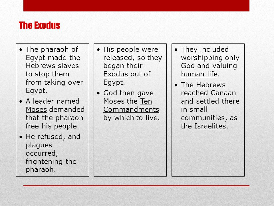 The Exodus The pharaoh of Egypt made the Hebrews slaves to stop them from taking over Egypt.