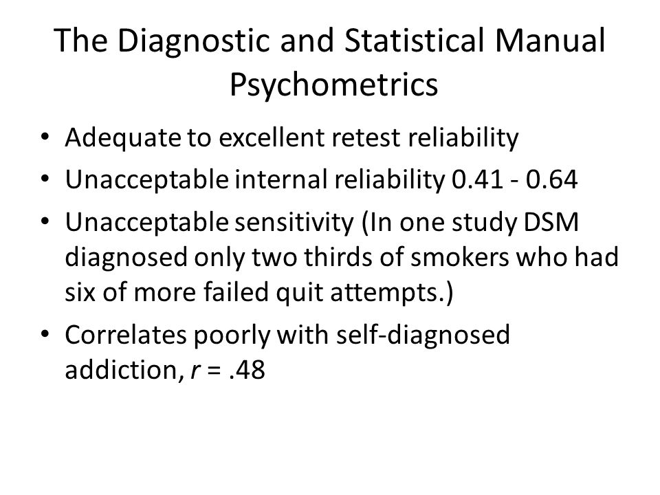 The Diagnostic and Statistical Manual Psychometrics