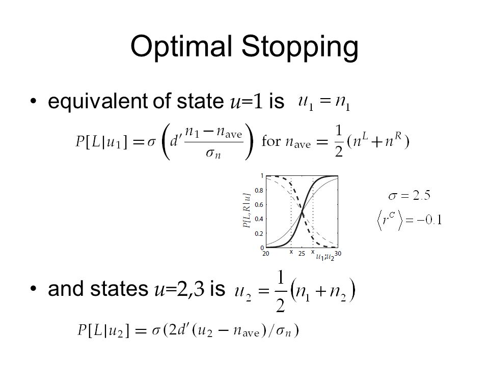 Optimal Stopping equivalent of state u=1 is and states u=2,3 is
