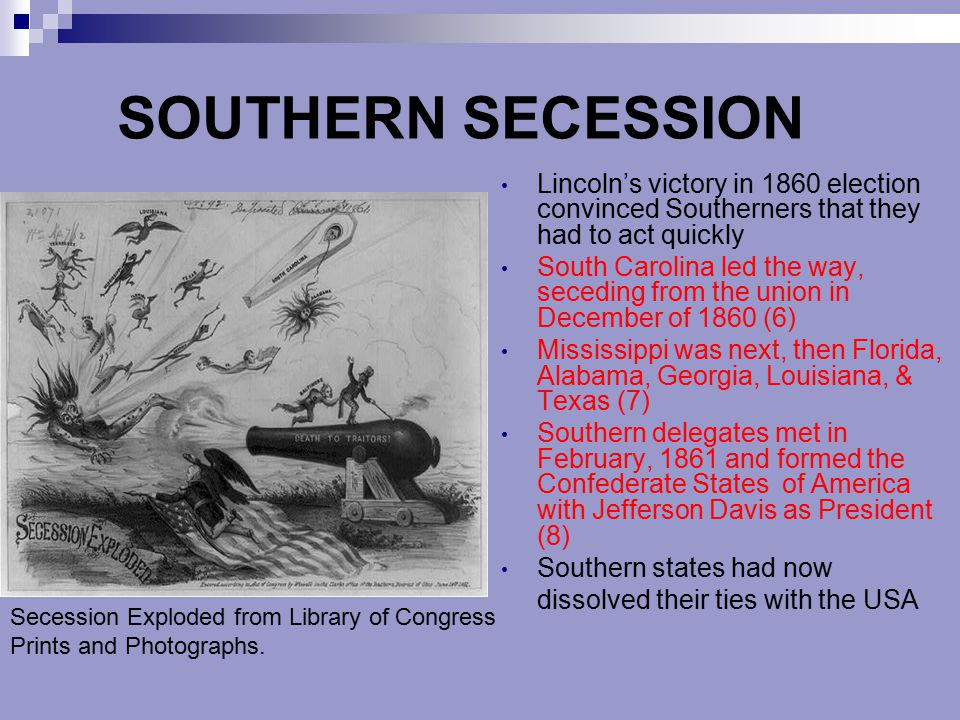 SOUTHERN SECESSION Lincoln's victory in 1860 election convinced Southerners that they had to act quickly.