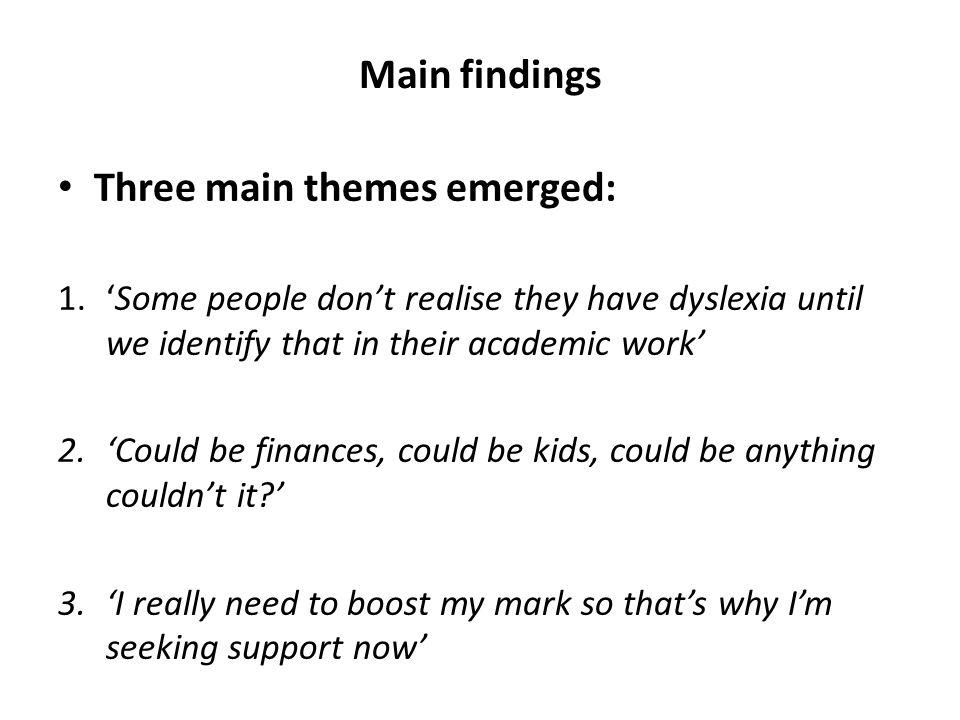 Three main themes emerged: