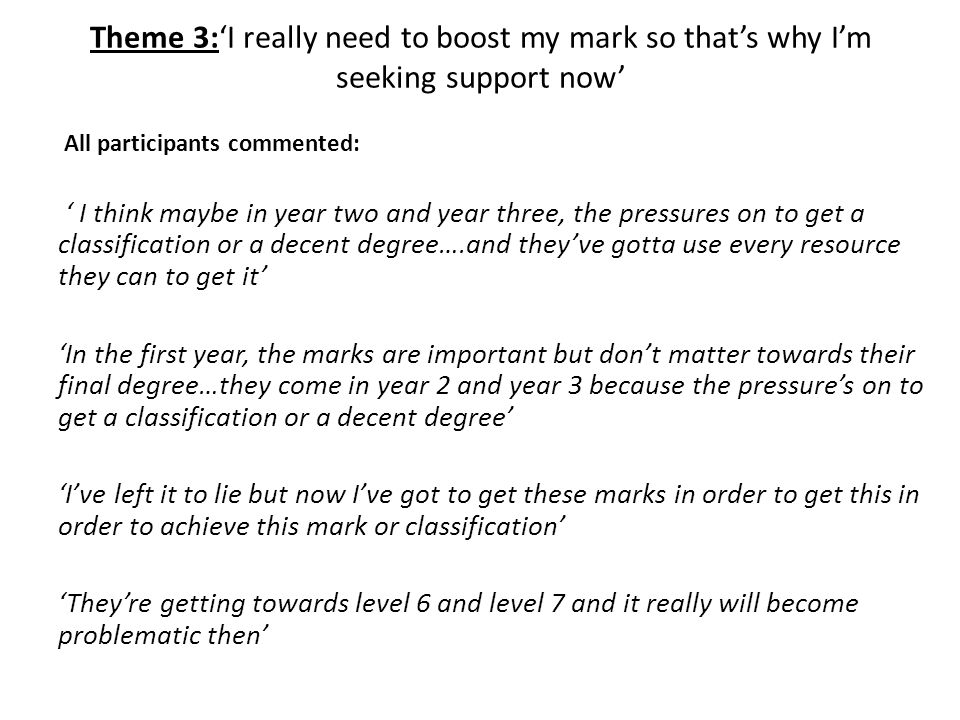 Theme 3:'I really need to boost my mark so that's why I'm seeking support now'