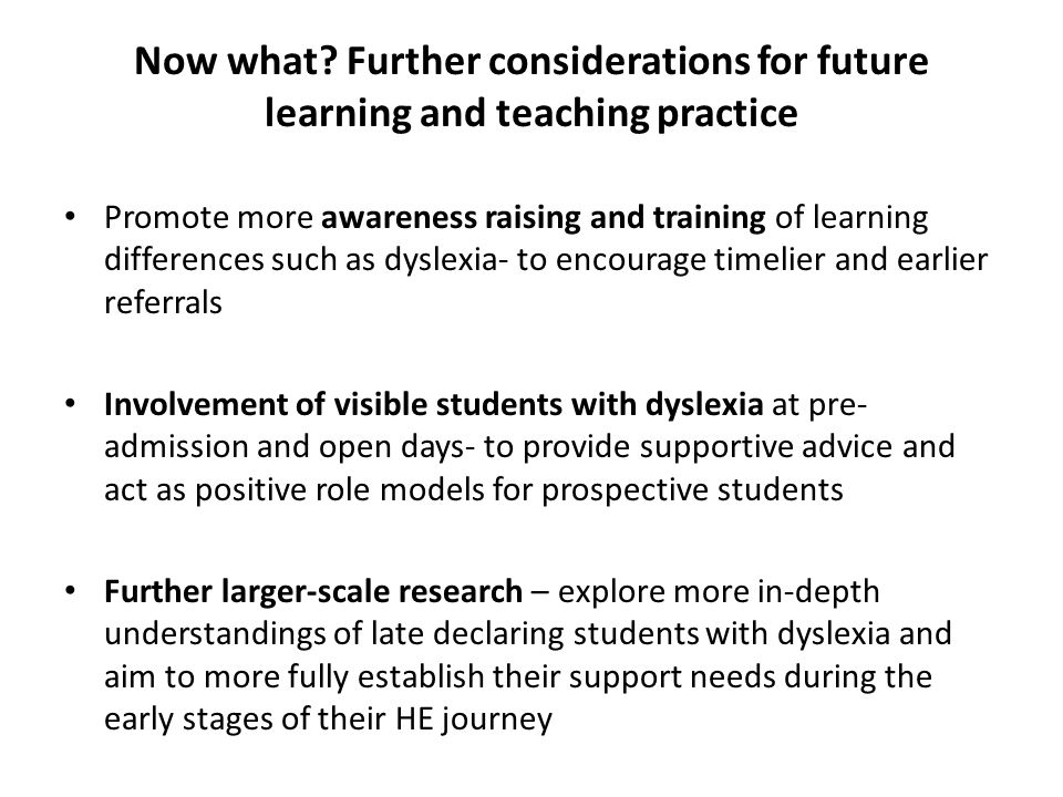 Now what Further considerations for future learning and teaching practice