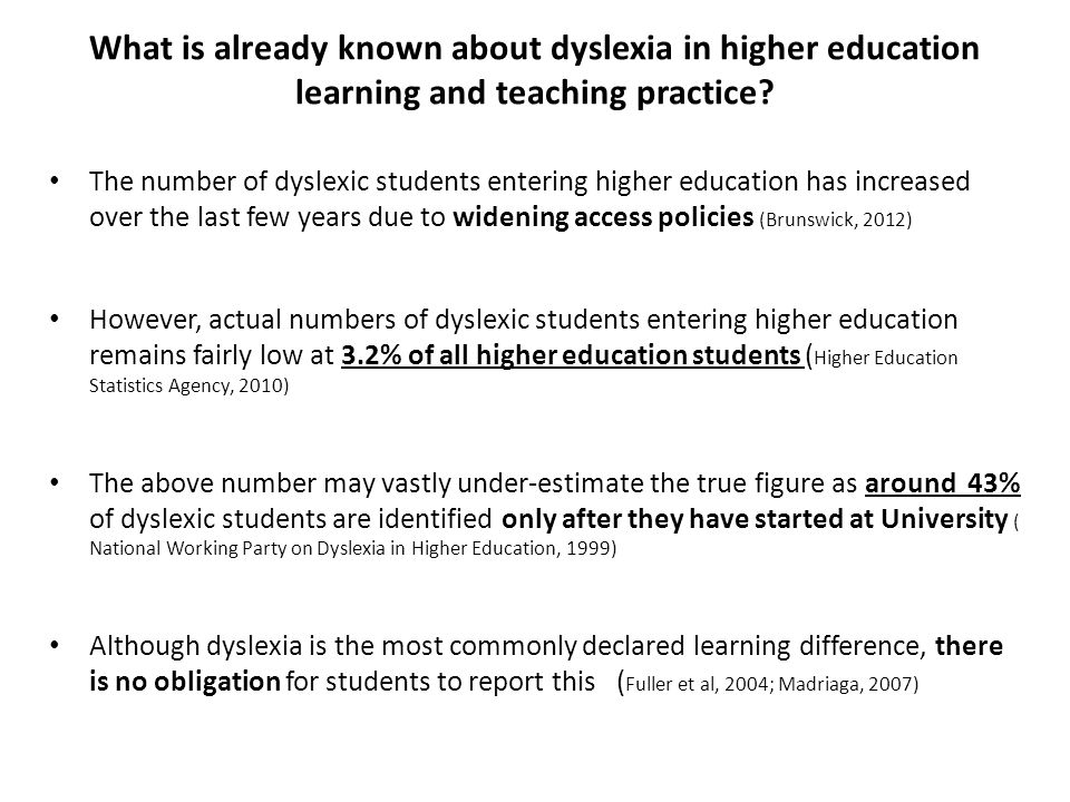 What is already known about dyslexia in higher education learning and teaching practice