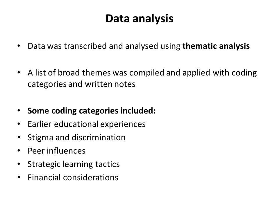 Data analysis Data was transcribed and analysed using thematic analysis.