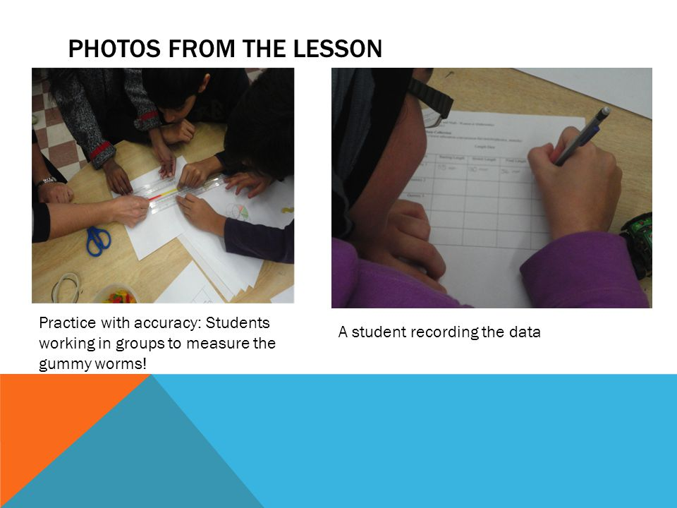 Photos from the lesson Practice with accuracy: Students working in groups to measure the gummy worms!