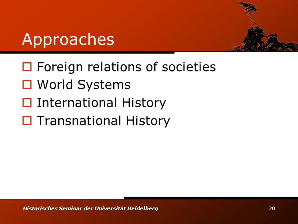 Approaches Foreign relations of societies World Systems