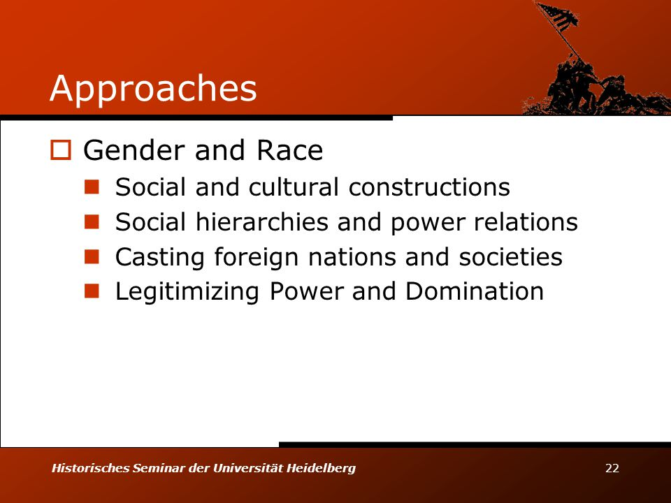 Approaches Gender and Race Social and cultural constructions