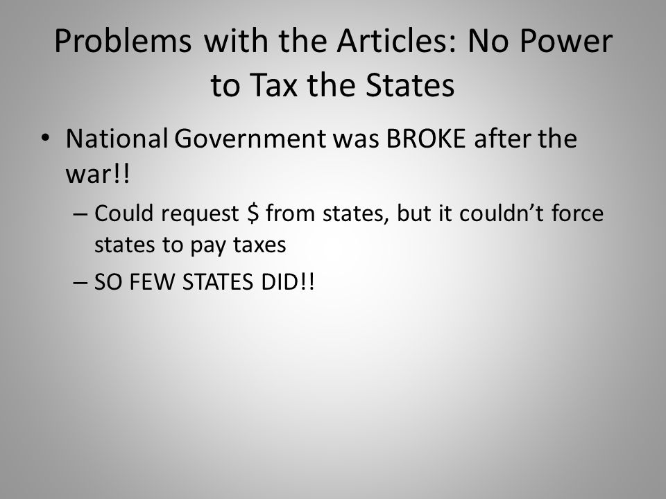 Problems with the Articles: No Power to Tax the States
