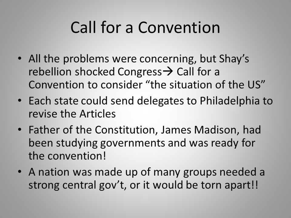 Call for a Convention