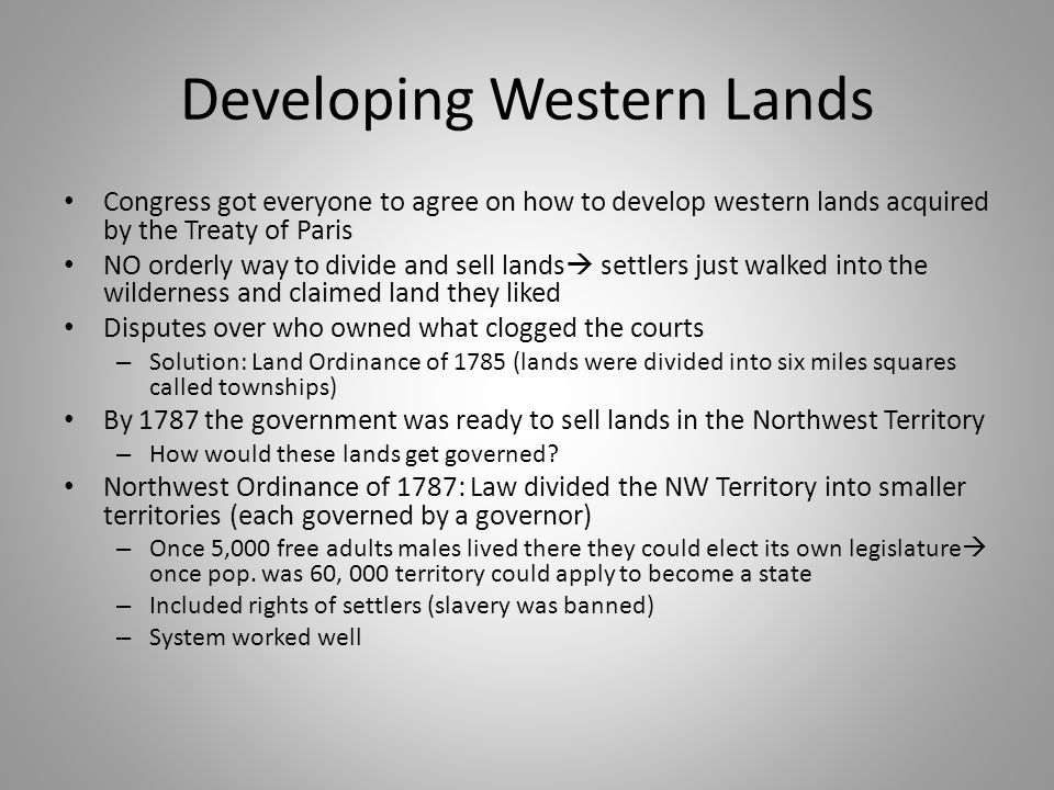Developing Western Lands