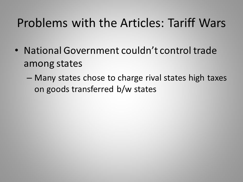 Problems with the Articles: Tariff Wars
