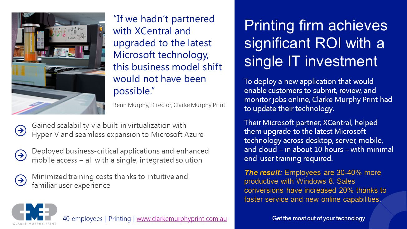 Printing firm achieves significant ROI with a single IT investment