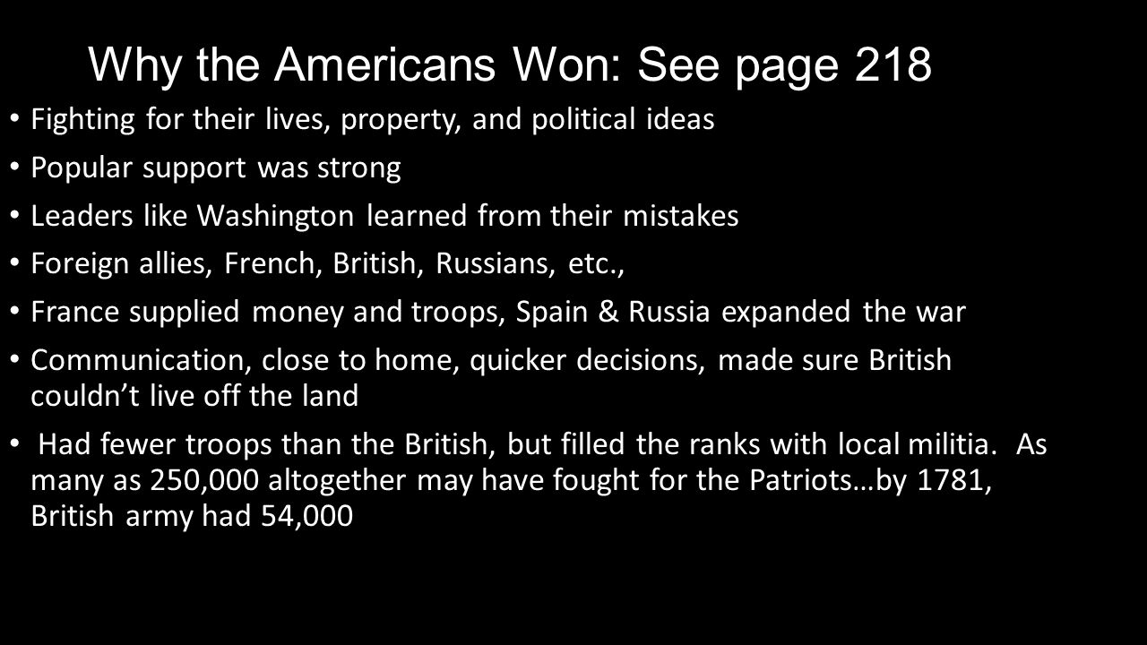 Why the Americans Won: See page 218