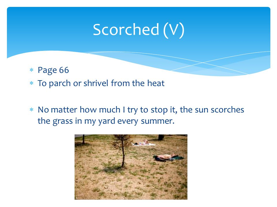 Scorched (V) Page 66 To parch or shrivel from the heat
