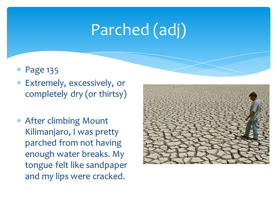 Parched (adj) Page 135. Extremely, excessively, or completely dry (or thirtsy)