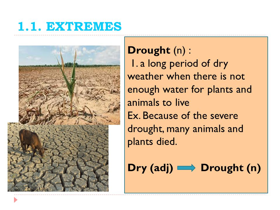 1.1. EXTREMES Drought (n) : 1. a long period of dry weather when there is not enough water for plants and animals to live.