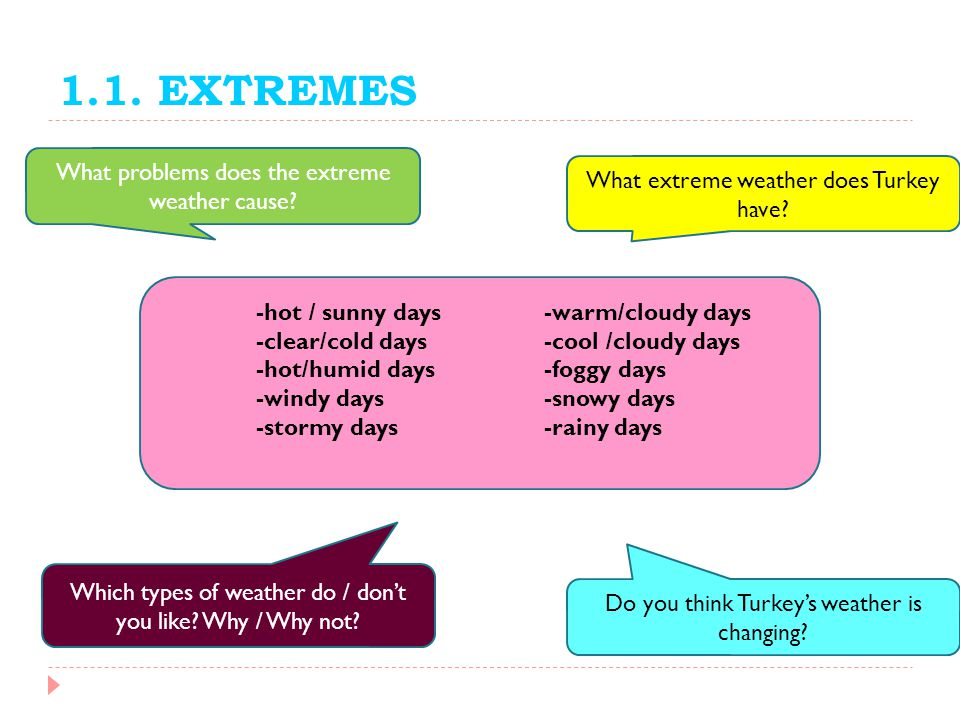 1.1. EXTREMES What problems does the extreme weather cause