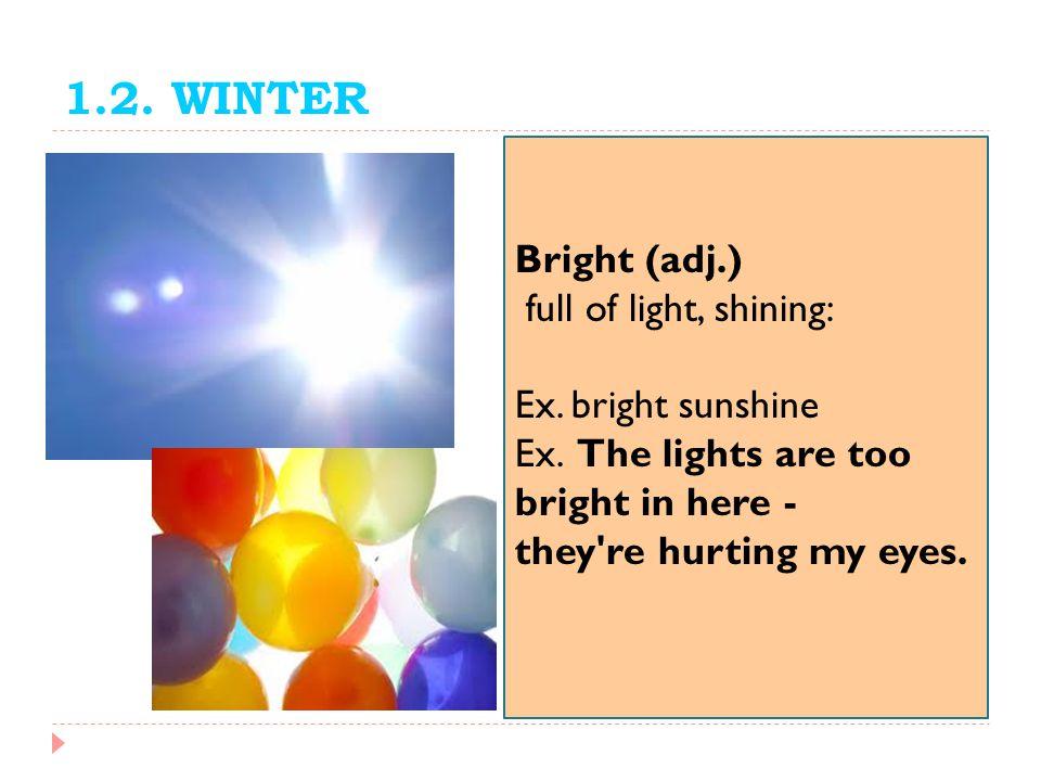 1.2. WINTER Bright (adj.) full of light, shining: Ex. bright sunshine