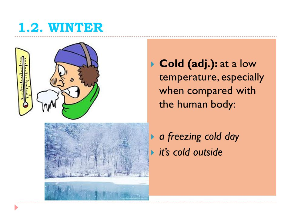 1.2. WINTER Cold (adj.): at a low temperature, especially when compared with the human body: a freezing cold day.