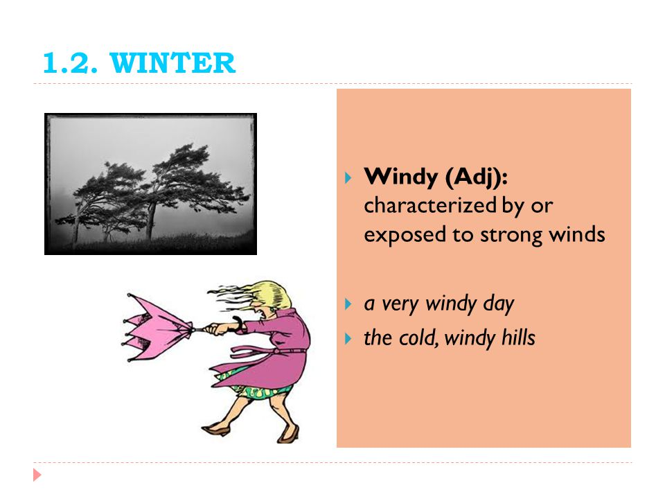 1.2. WINTER Windy (Adj): characterized by or exposed to strong winds