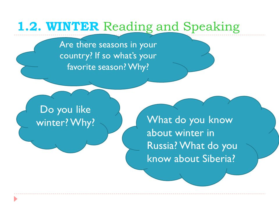 1.2. WINTER Reading and Speaking