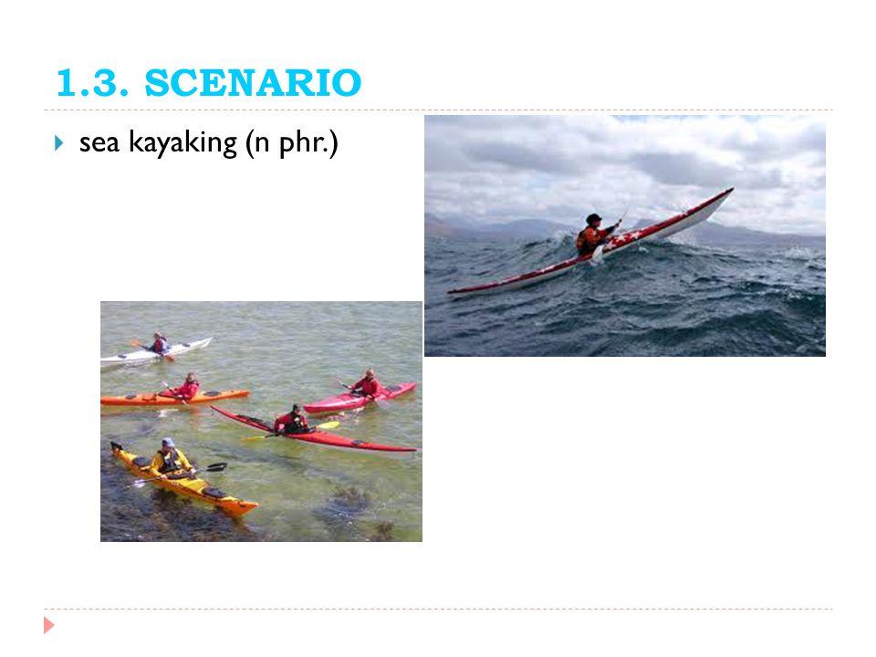 1.3. SCENARIO sea kayaking (n phr.)