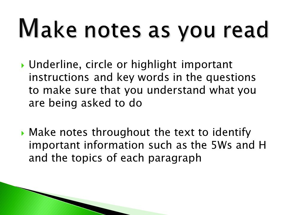 Make notes as you read