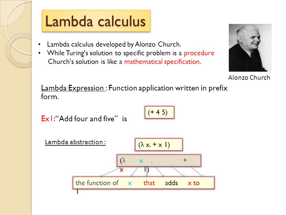 Lambda calculus Alonzo Church. Lambda calculus developed by Alonzo Church. While Turing s solution to specific problem is a procedure.
