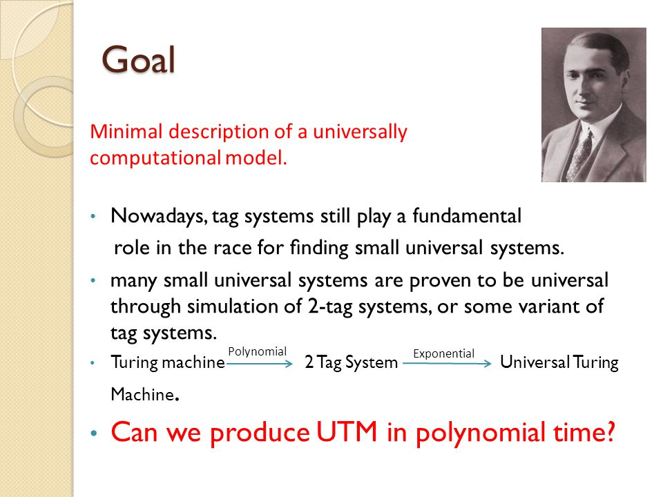 Goal Can we produce UTM in polynomial time