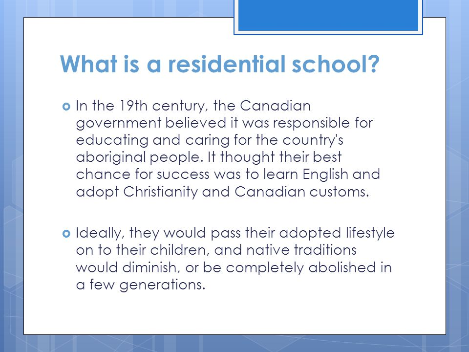 What is a residential school
