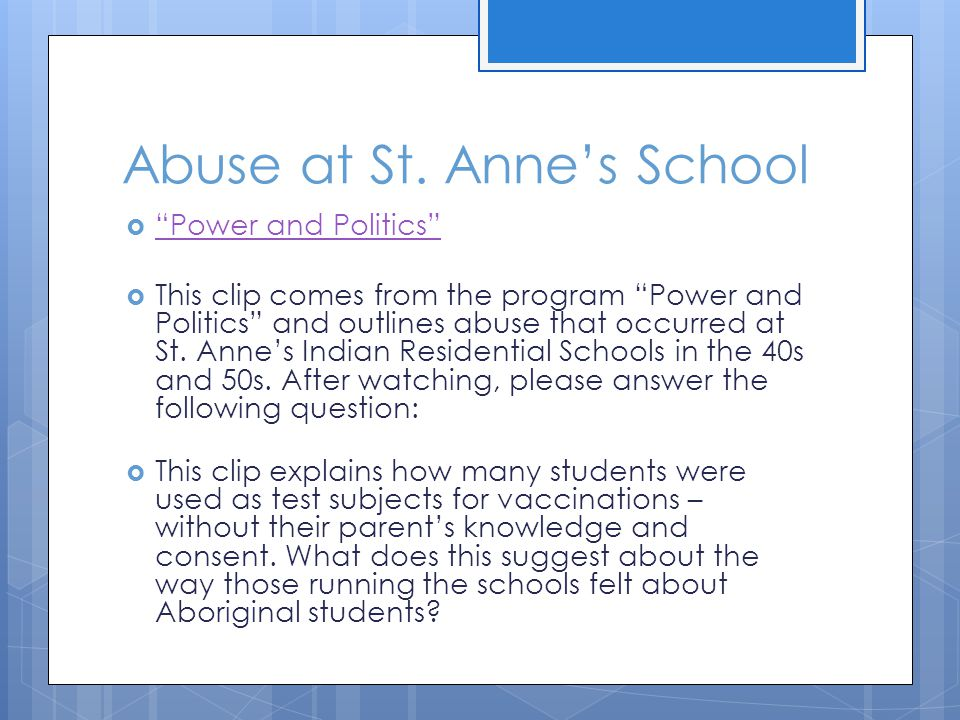 Abuse at St. Anne's School
