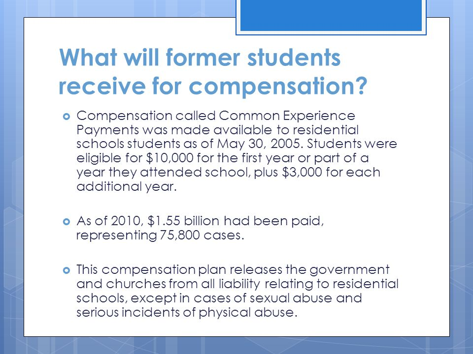 What will former students receive for compensation