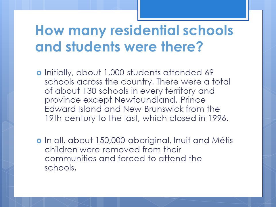 How many residential schools and students were there