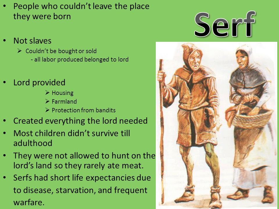 Serf People who couldn't leave the place they were born Not slaves