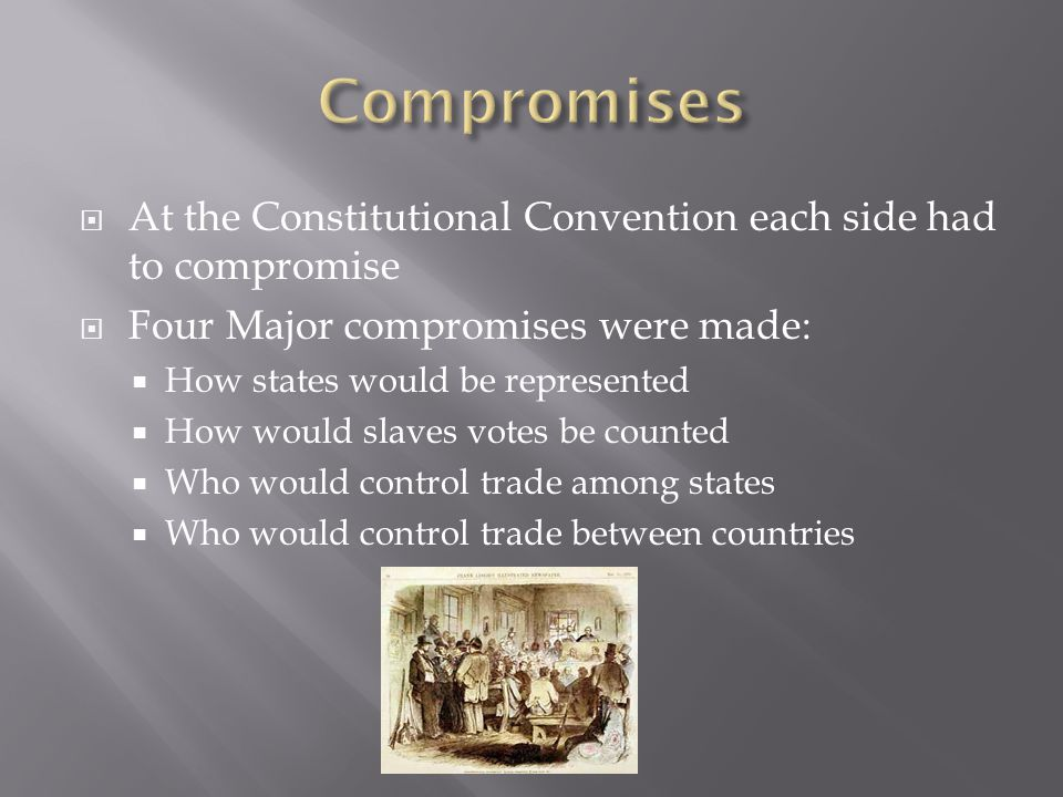 Compromises At the Constitutional Convention each side had to compromise. Four Major compromises were made: