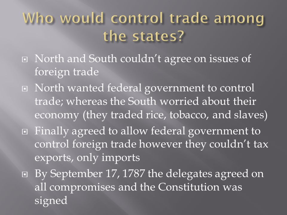 Who would control trade among the states