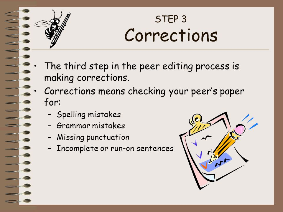 The third step in the peer editing process is making corrections.