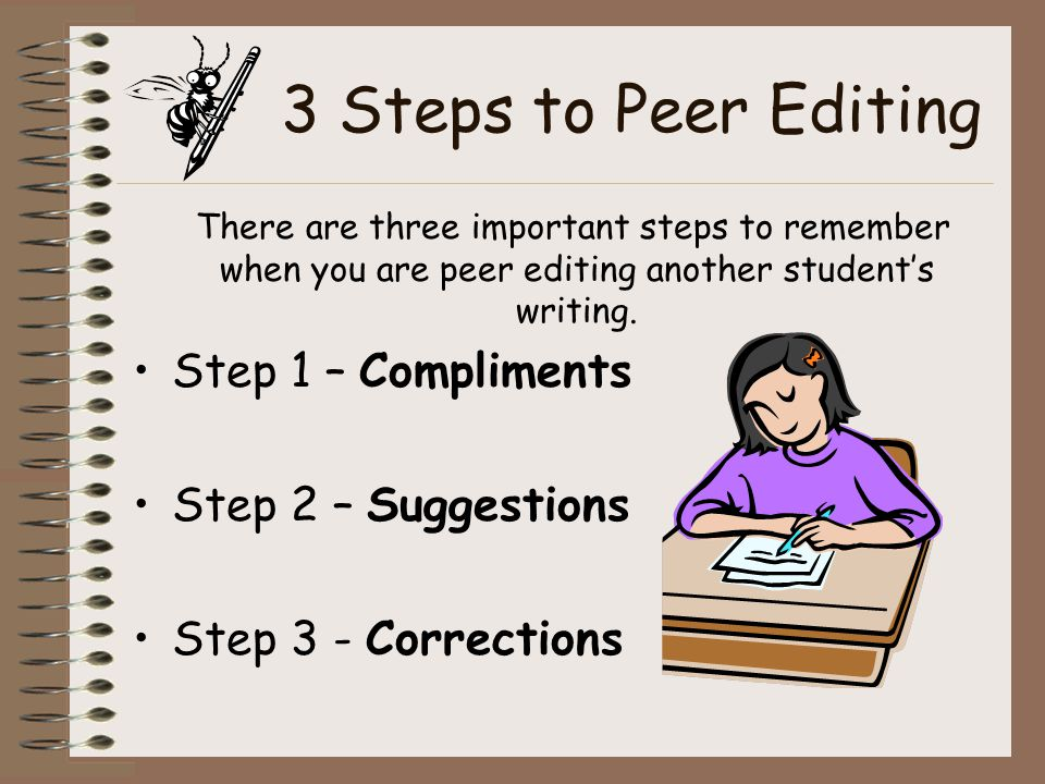 3 Steps to Peer Editing Step 1 – Compliments Step 2 – Suggestions