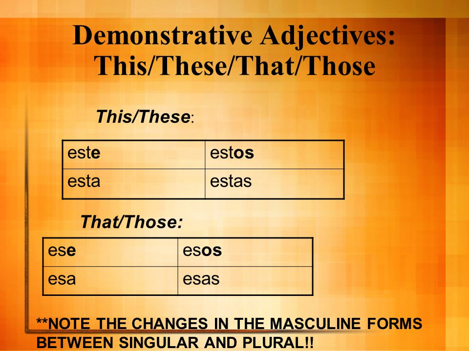 Demonstrative Adjectives: This/These/That/Those