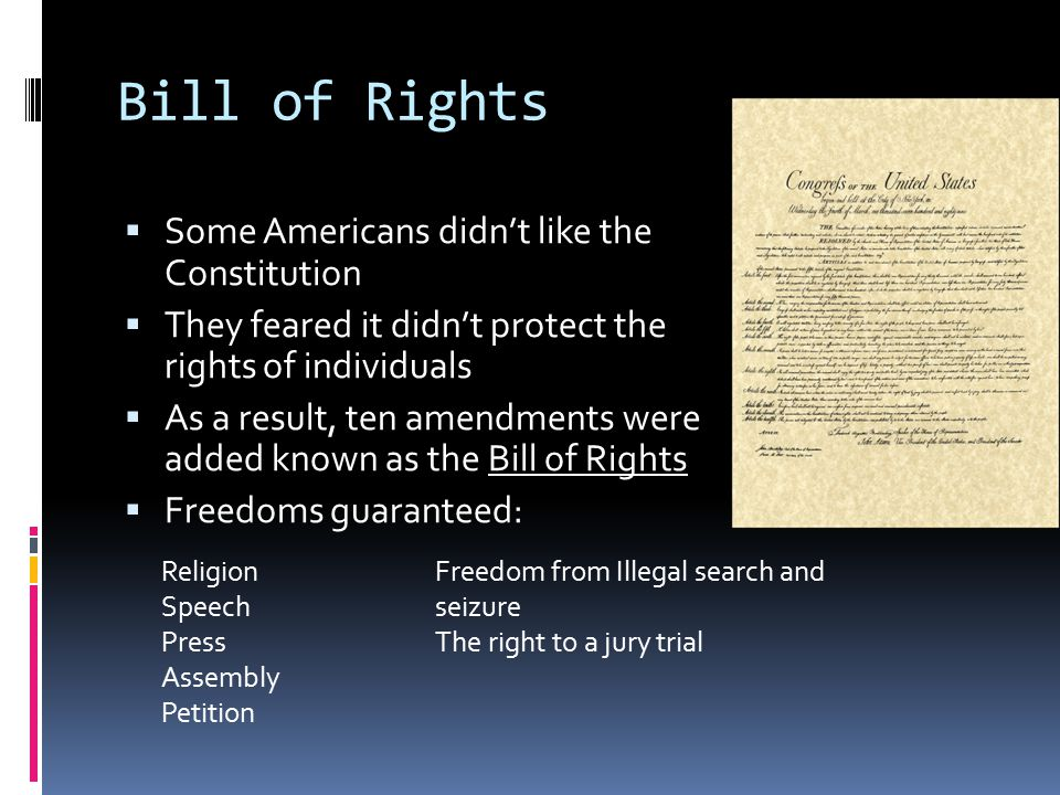 Bill of Rights Some Americans didn't like the Constitution