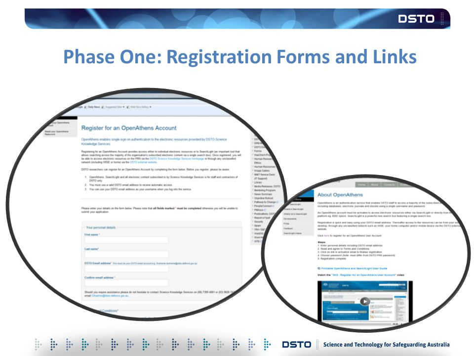 Phase One: Registration Forms and Links
