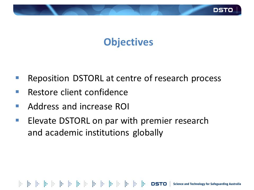 Objectives Reposition DSTORL at centre of research process