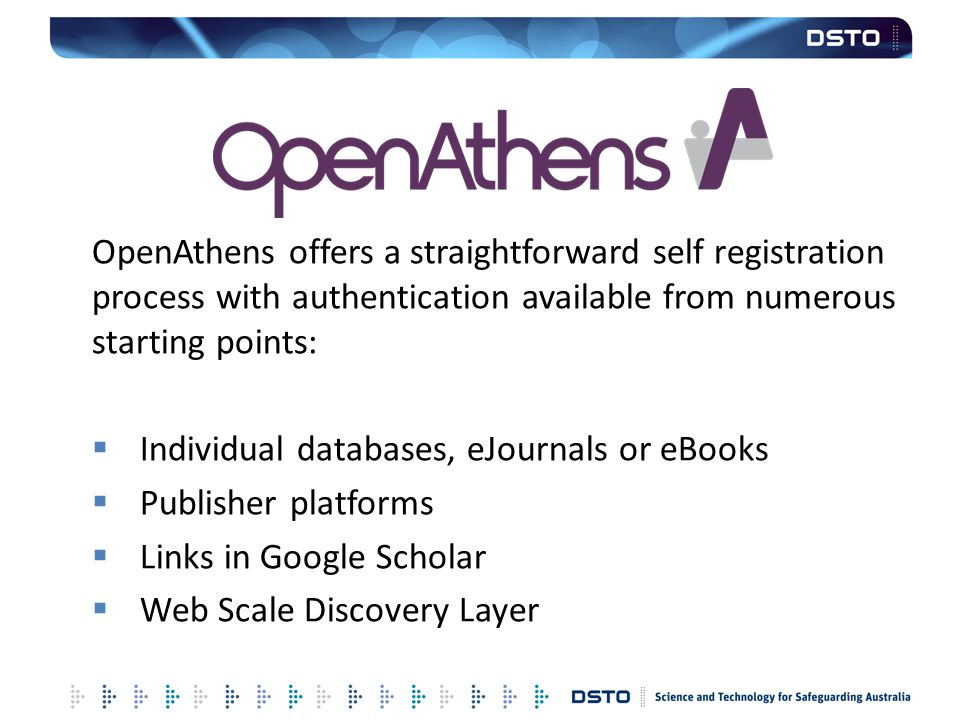 OpenAthens offers a straightforward self registration process with authentication available from numerous starting points:
