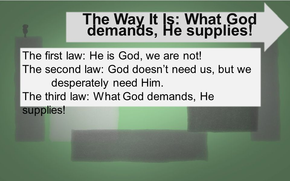 The Way It Is: What God demands, He supplies!