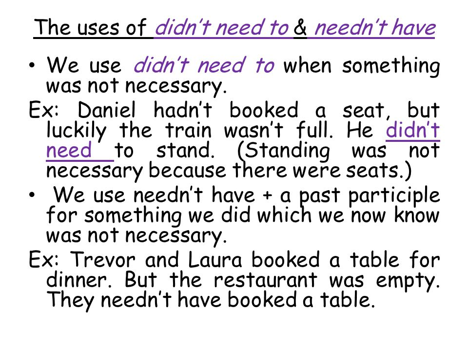 The uses of didn't need to & needn't have