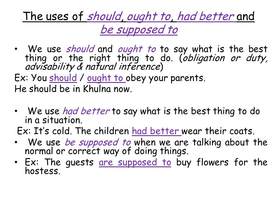 The uses of should, ought to, had better and be supposed to