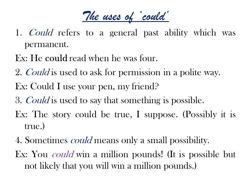 The uses of 'could'