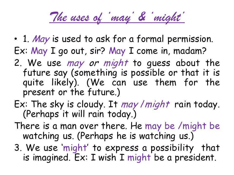 The uses of 'may' & 'might'