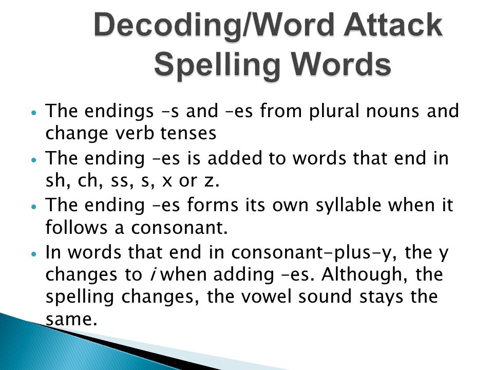 Decoding/Word Attack Spelling Words